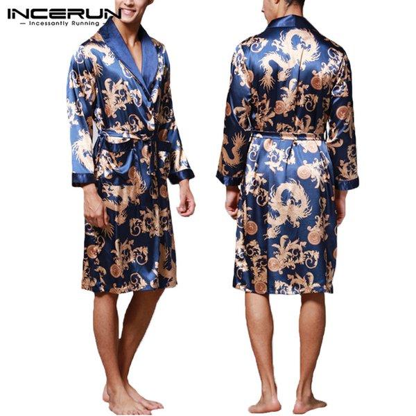 INCERUN Moda Satin Seda Pijamas Mens Robe Mangas Compridas Roupão de Banho Sorte Dragão Chinês Vestido de Impressão Roupão Sleepwear Lounge