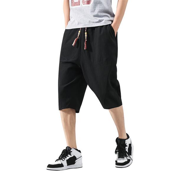 Pantalon homme Casual Pantalon de sport pour homme Pantalon ample en lin et coton à longueur de mollet Baggy Harem Veau-Longueur L415A