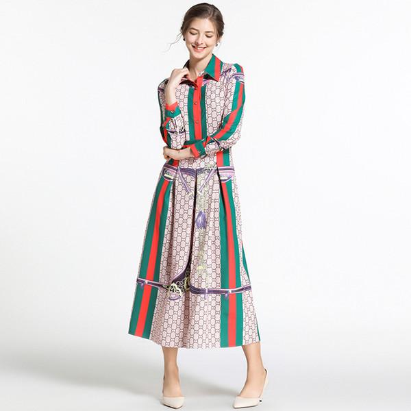Nuove 2019 Magliette classiche Stampa Pieghe Midi camicia abiti da donna casual ufficio risvolto maniche lunghe in una linea abiti firmati pulsante di lusso