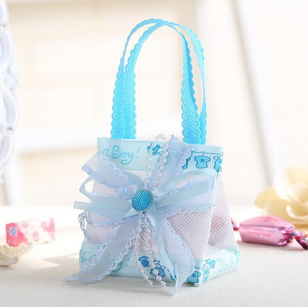 Großhandel 60 Stücke Baby Shower Geschenke Box Süßigkeiten Tasche Taufe Dekoration Party Favors Für Kinder Jungen Mädchen Geburtstag Liefert Rosa Blau