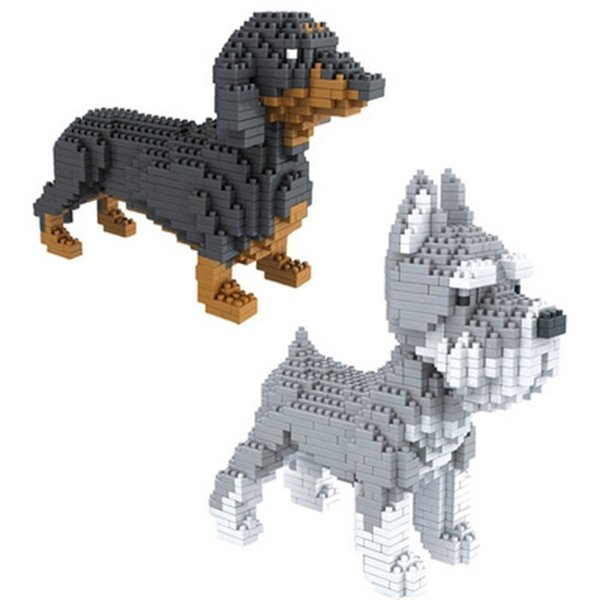 Blocchi di montaggio Modello animale Corgi Toy Dog Mini Block Bassotto Mattoni diamantati Schnauzer Regali per bambini Regalo di Natale Negozio di animali Y190606