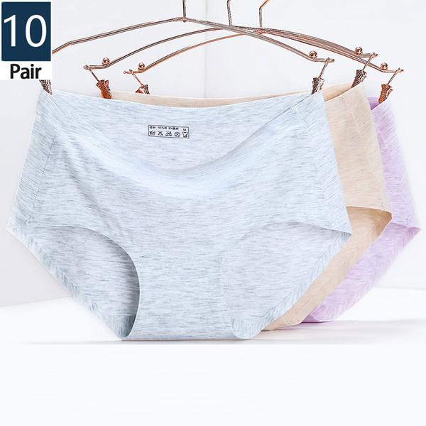 10 Pcs / calcinha de algodão das mulheres sem costura cuecas sensuais sexy das mulheres calças mini cueca venda quente roupa interior por atacado