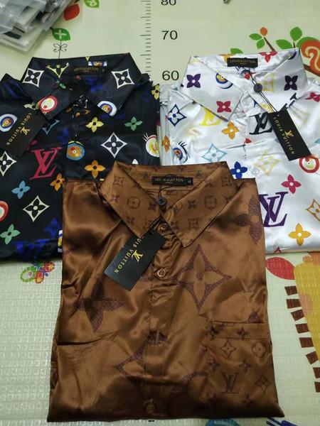 Hot 2019 Nuevas camisas de diseñador de estilo europeo y americano estampado de patrones de color Camisas informales para hombres delgados Camisetas de vestir Medusa