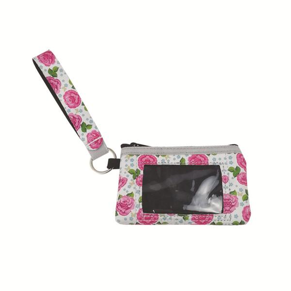 Bolso de la impresión de la flor de las mujeres bolso pequeño de la tarjeta Mini monedero Portátil Multicolor Fibra de poliéster Ventas calientes populares 5ny C1