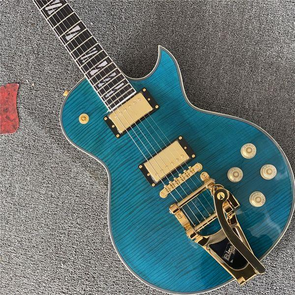 2018 cu tom double tiger flame green jazz electric guitar golden hardware lp tandard cu tom guitarra vibrato y tem guitar