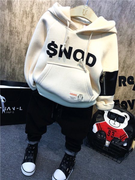 2PCS Boys winter clothing set kids hooded long sleeve velvet thick white black hoodies and jeans set baby fashion clothes 2-7T