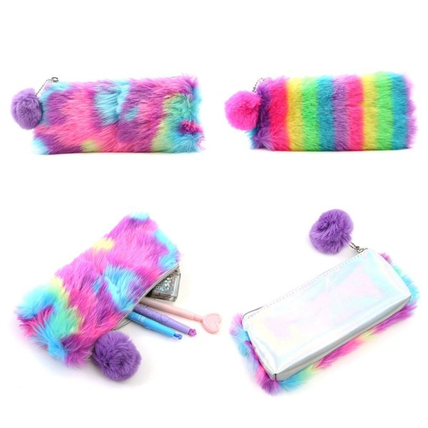korean kawaii cute plush school pencil case rainbow pencilcase for girls large big pen bag stationery pouch box supplies