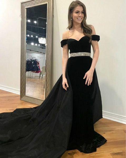 Элегантные бархатные черные платья выпускного вечера со съемным шлейфом с плеча Органза Длинные вечерние платья Дешевые Плюс Размер