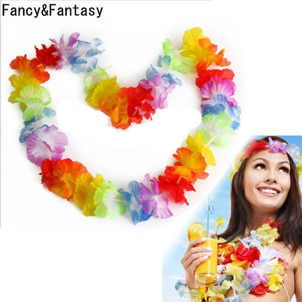 Wholesale-Fancy&Fantasy 10Pcs/Lot Hawaiian Style Colorful Leis Beach Theme Luau Party Garland Necklace Holiday Cool Decorative Flowers