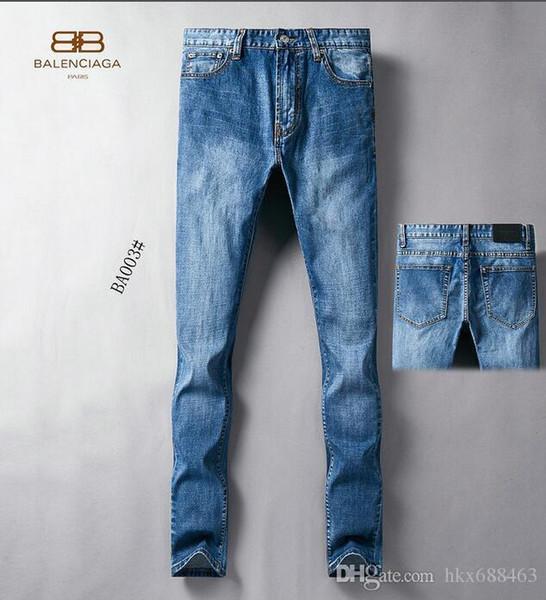 2019 printemps et en été nouveaux jeans hommes slim micro-élastique de couleur claire lavé couture tridimensionnelle coutures occasionnels marée masculine # 9881