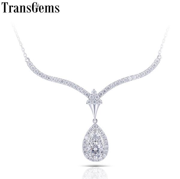 Transgems 14k 585 White Gold Center 1ct 6.5mm F Color Moissnaite Diamond Pendant Necklace For Women Wedding New Year Gift