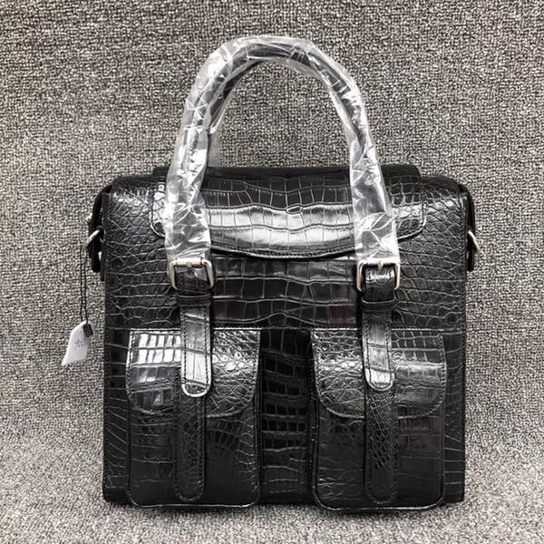 Luxus Echtes Krokodilleder Männer Flap Pockets Handtasche Exotische Echt Alligator Bauch Haut Männliche Große Kreuz Umhängetasche