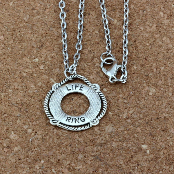 LIFE RING Alloy Charms Pendant Necklaces Jewelry DIY 20 inches Chains 20pcs/lots Antique silver A-418d