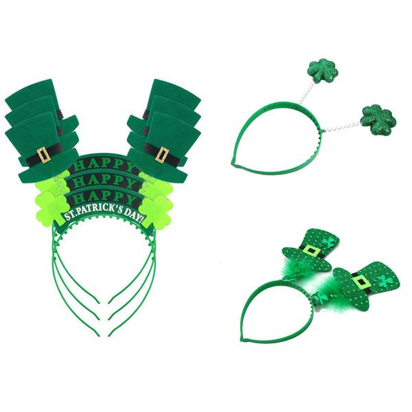 Green Hat Shamrock Headband Plastic Hair Ornaments St Patrick's Day Party Supplies Irish Festival Headbands MMA1478