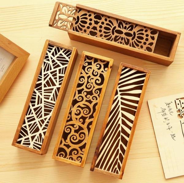 Moda Vintage Style Convenient Hollow legno Pencil Case Jewelry Storage Box Organizer in legno Cassetto Penna Holder School Gift