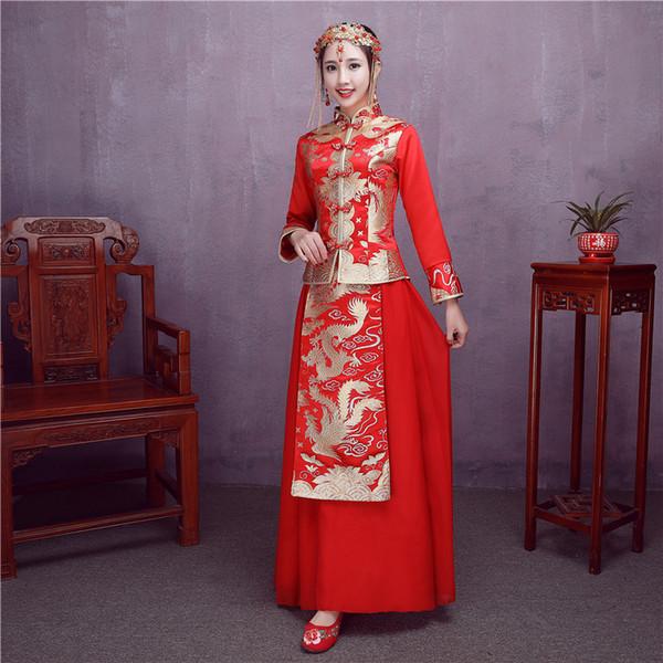 Red suit new Chinese bride toast clothing cheongsam wedding