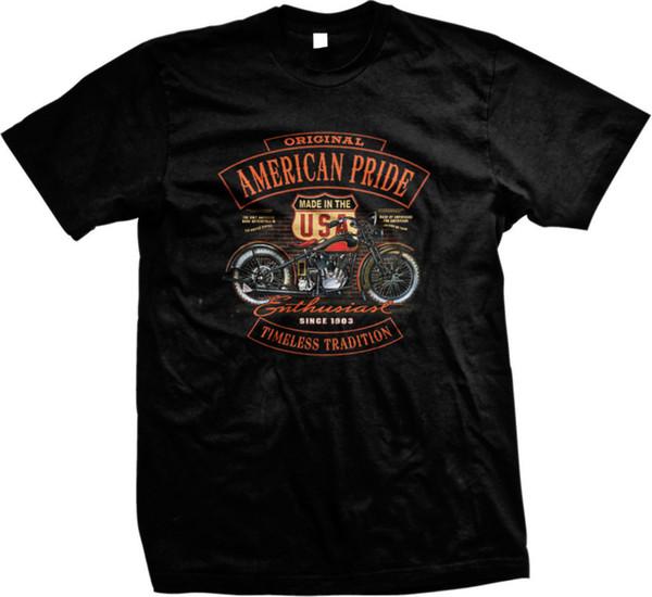 Orgulho americano original intemporal tradição motociclista motocicleta chopper mens t-shirt nova 2018 hot summer casual camiseta impressão
