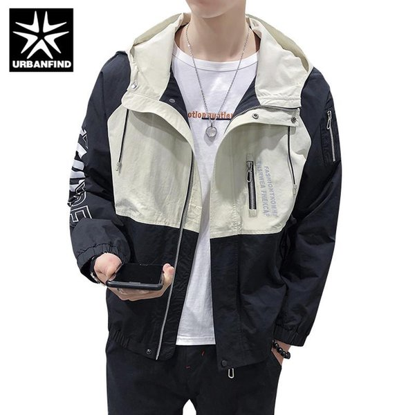 URBANFIND Autumn Spring Men Thin Jacket Patchwork Design Man Casual Hooded Coats Streetwear Size M-3XL