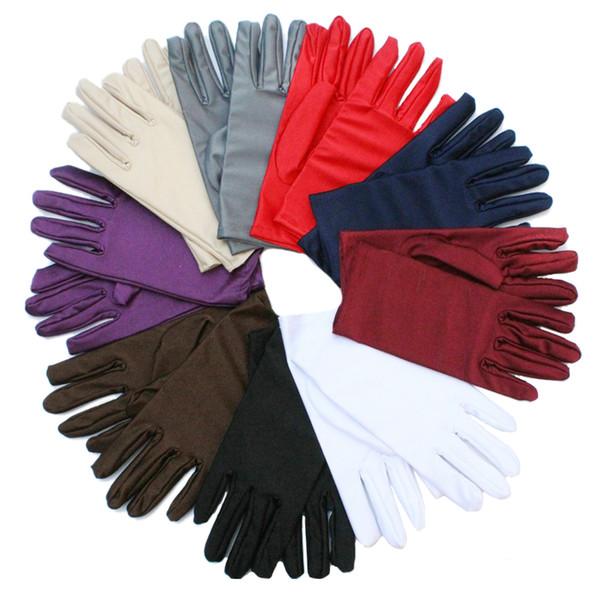 Cheap Women Wrist Plain White Performance Gloves Short Waitress Gloves White Manner Ceremonial For Ladies