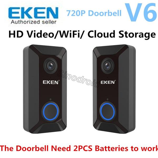 EKEN V6 Safe House Intercom Wireless Video Door Phone System 720P Smart WiFi Video Doorbell Two Way Audio Night Version Cloud Door bell