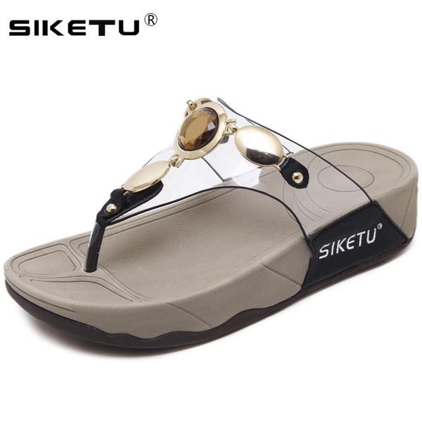 Siketu Zapatilla Mujer Compre Playa Flop Damas Wsh2411 2019 Verano Flip Diapositivas Zapatos Plana Bohemia Cristal Sandalias Plataforma rCexBod
