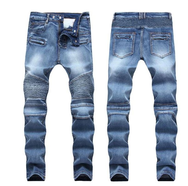 top popular Men Distressed Ripped Jeans Fashion Designer Straight Motorcycle Biker Jeans Causal Denim Pants Streetwear Style mens Jeans Cool 2019