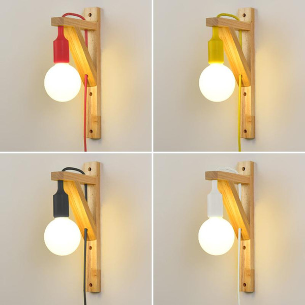 2019 Wood Wall Lamp For Living Room Bedroom Room Led Energy Saving With External Plug Hanging Wall Light Bedside Wall Sconces Fixture From Allen668