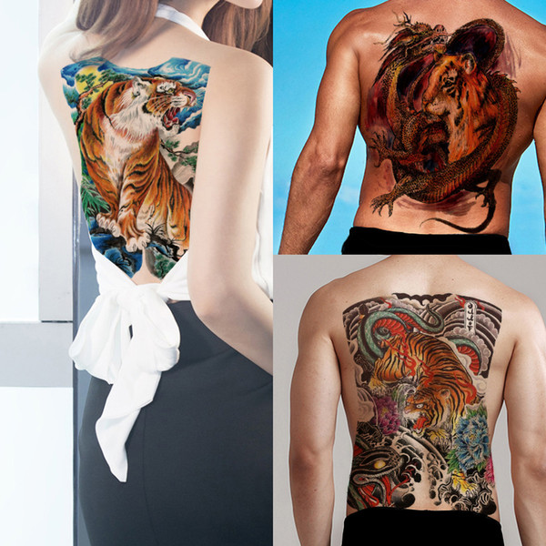 Cool Big Large Full Back Tiger Tattoo Sticker Waterproof Temporary Body Art Makeup Transfer Tattoos Paper for Woman Man Festival Beach Party