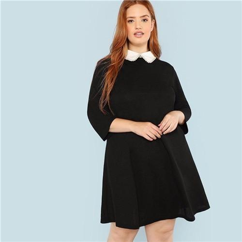 Plus Size Black Cute Collar Pearl Embellished A-Line Loose Dresses Women Spring Autumn Knee-Length Dress