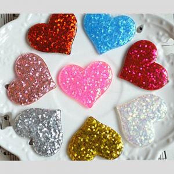 Glitter love heart girls hairclip handmade diy hair accessories resin cute little kids girls 8 colors hairpin IIA258