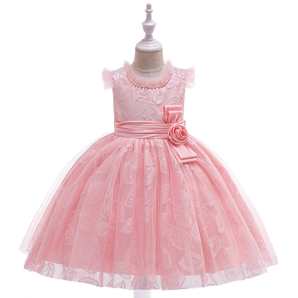 New Style Ruffled O Neck Sleeveless Girl's Birthday Party Pageant Dress Ball Gown Flower Girl Dresses for Evening Party