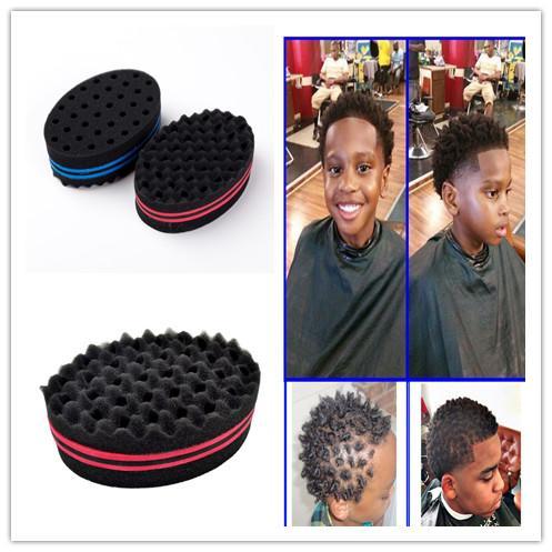 220pcs Magic Double Head Sponge Men Barber Hair Brush Black Dreads Locking Afro Twist Curl Coil Brush Hair Styling Tools Hair Care