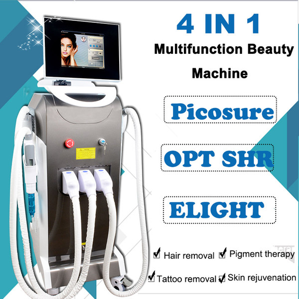 4 IN 1 pico laser tattoo removal Machine ipl elight Laser hair removal skin care equipment CE Approved