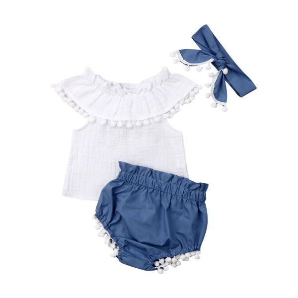 Verano Bebé recién nacido del hombro de la borla de la bola blanca tapas del tanque del bebé de los Bloomers cortos con banda de sujeción 3PCS Equipos niñas juego de ropa