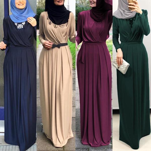 Элегантный Женщины Мусульманский Maxi платье джилбаба Абая с длинным рукавом Кафтан исламское одеяние Рамазан плиссе длиной до пола платье Араб Ближний Восток