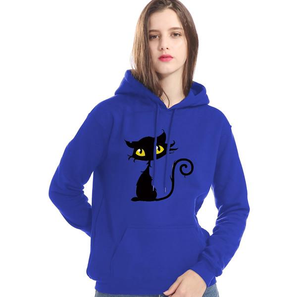 Hot 2019 Autumn Winter Fleece Sweatshirt For Women Animal Black Cat Print Gothic Hoody Hip Hop Streetwear Women's Hoodies Tops