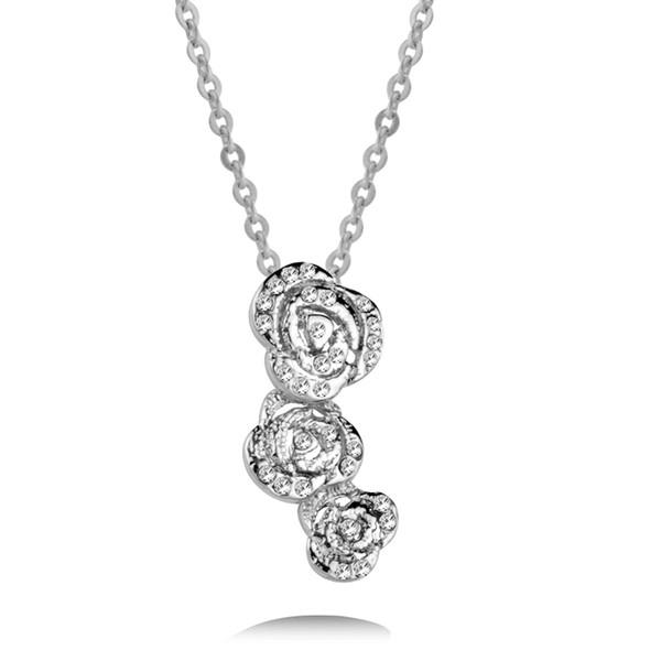 Элегантный цветок роз ожерелье Серебро Цвет Белых Розовые Синий Цирконий цепь ожерелье женщины ювелирные изделия XL195 SSD