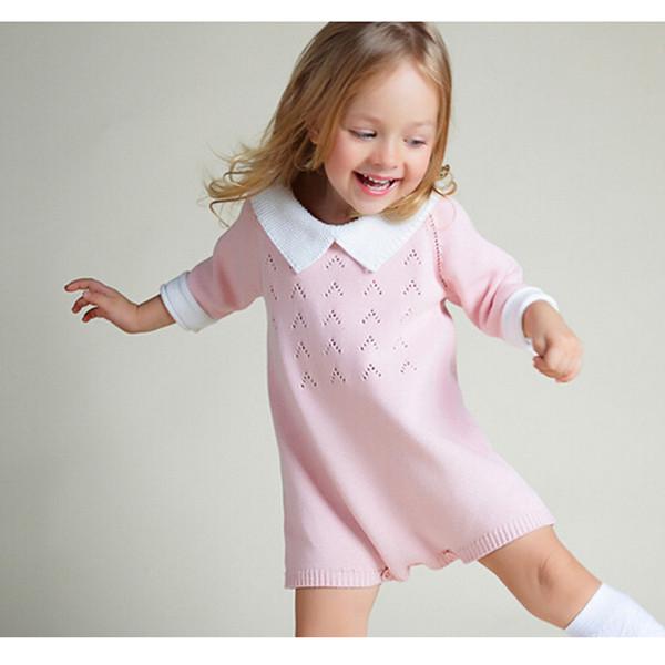 New 2018 Baby Girls Dress Cotton Knit Crochet Baby Girl Romper Kids Seven Sleeve Jumpsuit Infant New Born Toddler Sweater Dress J190619