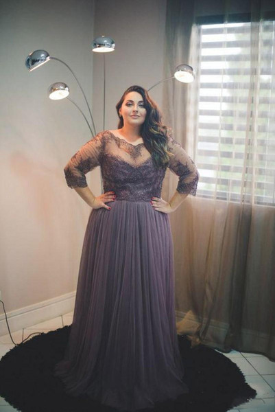 With Sleeves A-line Tulle Appliques Lace Sheer Big Gight Prom Dress For Fat Women 2019 New Plus Size Evening Gowns Dresses