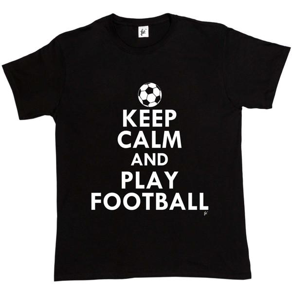Keep Calm Play Football - Camiseta para hombre de fútbol 2018 camiseta divertida, 100% algodón, camiseta de verano encantadora Tops