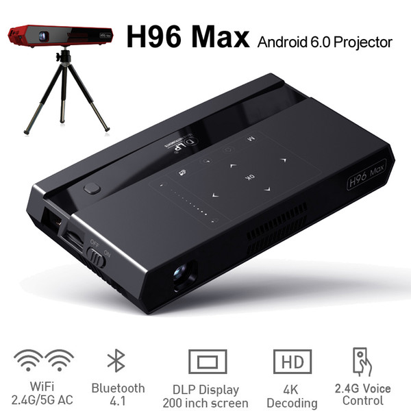 Control remoto de voz Android TV Box LED Mini Proyector Bluetooth Altavoz Amlogic S912 Octa Core Wifi 2GB 16GB H96 Max Cajas con soporte