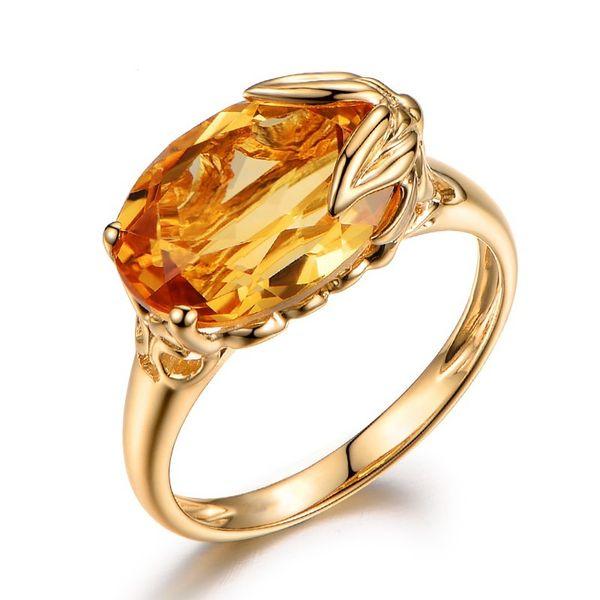 Atacado 5 Pçs / lote LuckyShine Rose Anéis De Ouro Para As Mulheres Anéis de Noivado Jóias Vintage Amarelo Cubic Zirconia Anel de jóias