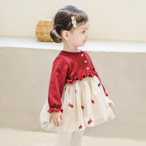 Christmas Christening.2019 Infant Baby Clothes Newborn Baptism Dress For Girls Clothing Strawberry Embroidery Princess Party Christmas Christening Dresses From Jfyshop