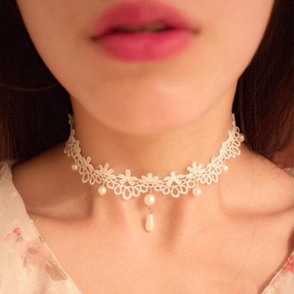 2017 new jewelry pure hand reproduction simple simple white pearl lace Ladies Choker Necklace White