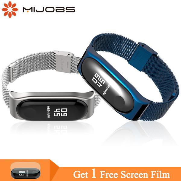 Mijobs Mi Band 3 Wrist Strap Metal Screwless Stainless Steel For Xiaomi Mi Band 3 Strap Bracelet Pulseira Miband Wristbands