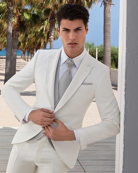 Nouvelle arrivée Slim fit marié smokings Smoky Peak Lapel Suit Ivory Groomsman / meilleur homme mariage / costumes de dîner (veste + pantalon + cravate + gilet) J918