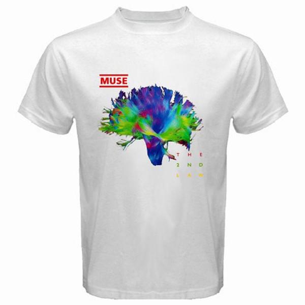 Nova MUSE The 2nd Law Banda de Rock dos homens T-Shirt Branca Tamanho S M L XL 2XL 3XL