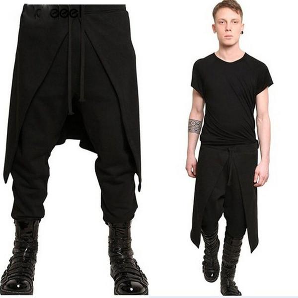 2019 Plus Size Men Casual Drape Drop Crotch Harem Hip Hop Pants Trouser Baggy Dancing Pants Gothic Punk Style Harem Pants Men
