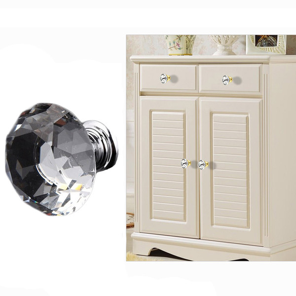 Drawer Knobs Kitchen Furniture Cabinet Handles Delicate Crystal Glass Knobs Cupboard Pulls 30mm Diamond Shape Design Handles DH0921