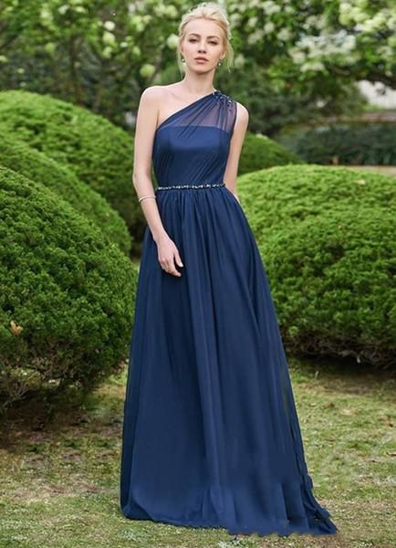 Muhteşem Bir Omuz Lacivert Gelinlik Modelleri 2019 Uzun Şifon Balo Elbise Çevrimiçi Hizmetçi Onur Elbise Akşam Giyim Mizaç